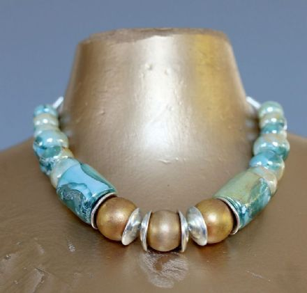 Greek Ceramic and Wood Necklace